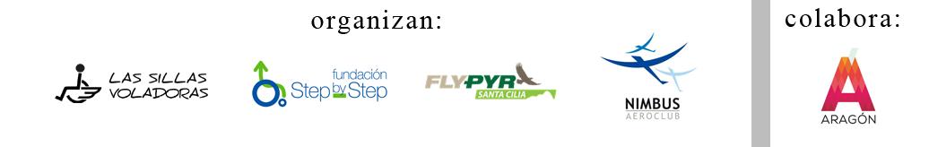 logos de Sillas Voladoras - Fundacion Step by Step - FLYPYR Santa Cilia - Nimbus aeroclub y gobierno de Aragon